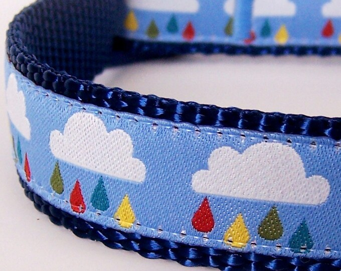 Clouds and Raindrops Adjustable Dog Collar Rainbow Spring Dog Collar
