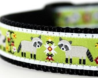 Raccoon Dog Collar on Green,  Adjustable Pet Collar, Folk Print Ribbon Collar