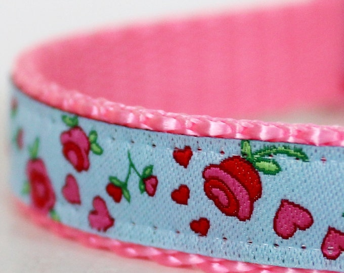 Shabby and Chic Dog Collar, Blue Rosebuds, 5/8 inch width Pet Collar, Roses, Adjustable Dog Collar