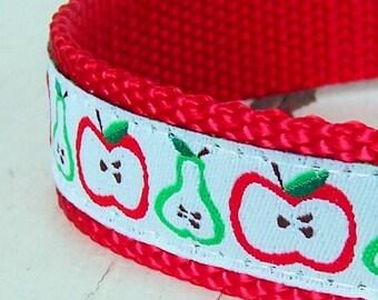 Apples and Pears Dog Collar. Adjustable Dog Collar, Teacher Dog Collar