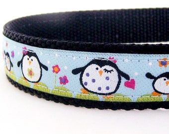 Happy Penguins Dog Collar on Blue, Holiday Pet Collar, Winter, Christmas