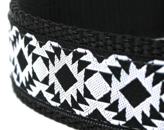 Tribal Dog Collar, 1 inch width, Big Dog Collar, Black and White, Southwest Pet Collar