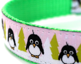 Arctic Penguin Dog Collar,  Pink Ribbon Dog Collar,  Adjustable, Christmas Dog Collar