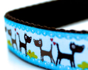 Dogs on Blue Dog Collar, Ribbon Dog Collar, Adjustable Dog Collar