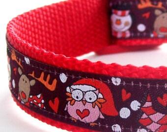 Christmas Owls Dog Collar, Reindeer Dog Collar, Snowman Dog Collar
