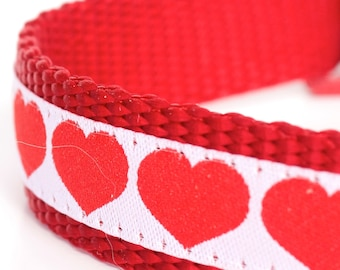 Red Hearts on White Dog Collar, Red Pet Collar, Valentine, Adjustable Dog Collar