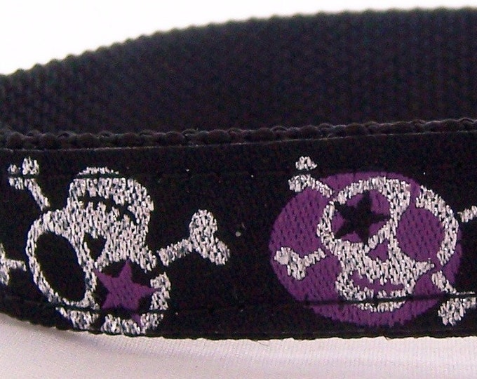 Stars and Purple Glitter Skulls Dog Collar, Adjustable Ribbon Pet Collar, Rockstar, Hipster