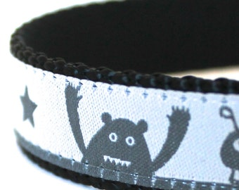 Monsters and Stars Dog Collar, Grey Black, Adjustable Ribbon Collar, Aliens, Boy Dog Collar