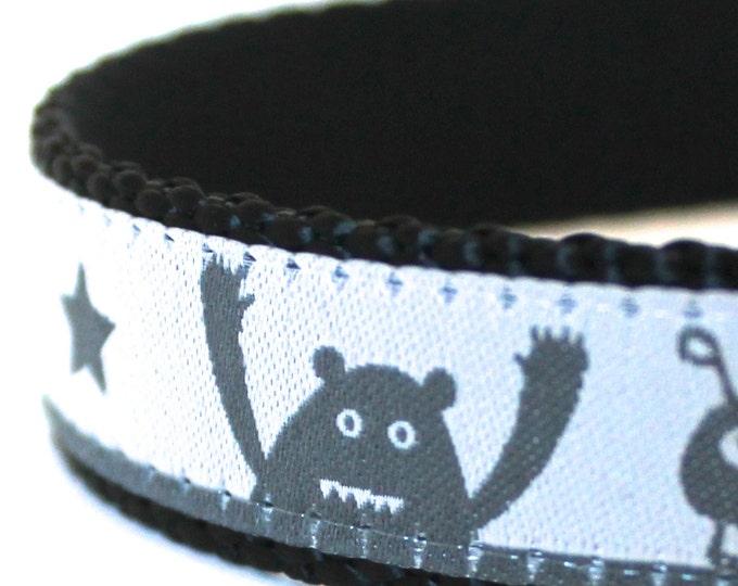 Monsters and Stars Dog Collar, Grey Black, Adjustable Ribbon Collar, Aliens, Boy Dog Collar