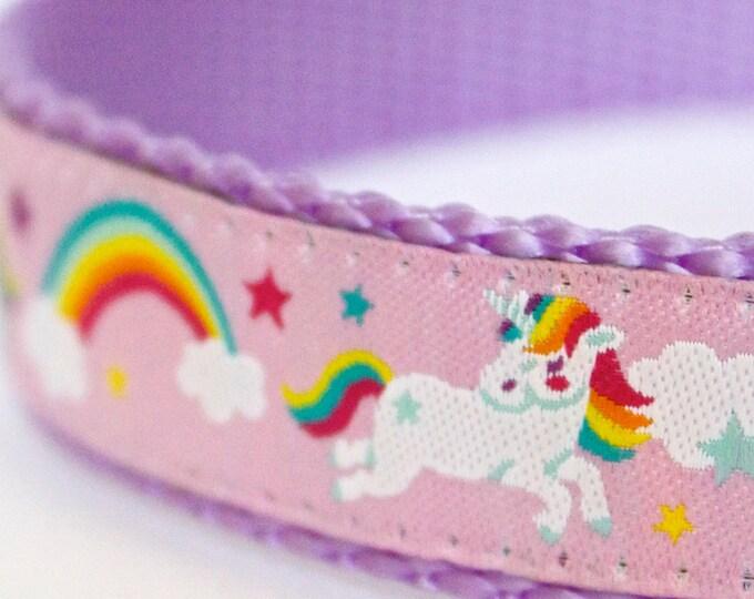 Unicorns and Rainbows Dog Collar, Pink Fairytale Pet Collar, Magical