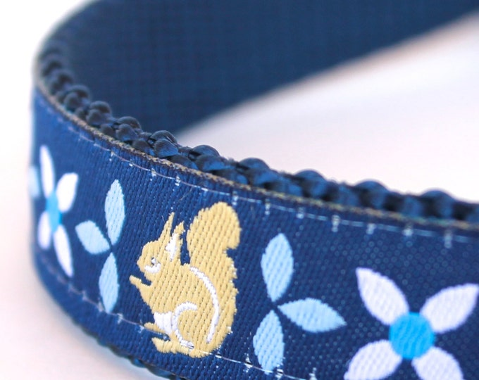 Blue Squirrel Adjustable Dog Collar, Ribbon Dog Collar, Navy Blue Pet Collar