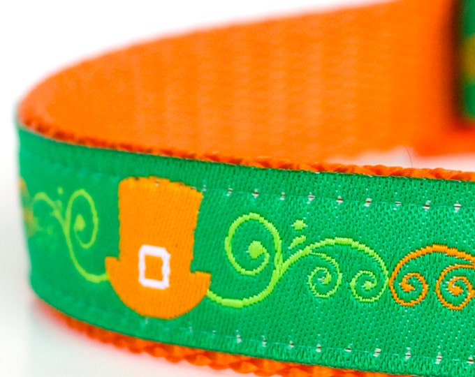 Leprechaun Hats Dog Collar, Green Pet Collar, St. Patrick's Day, Lucky Dog