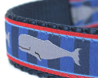 Whale in the Ocean Nautical Adjustable Dog Collar