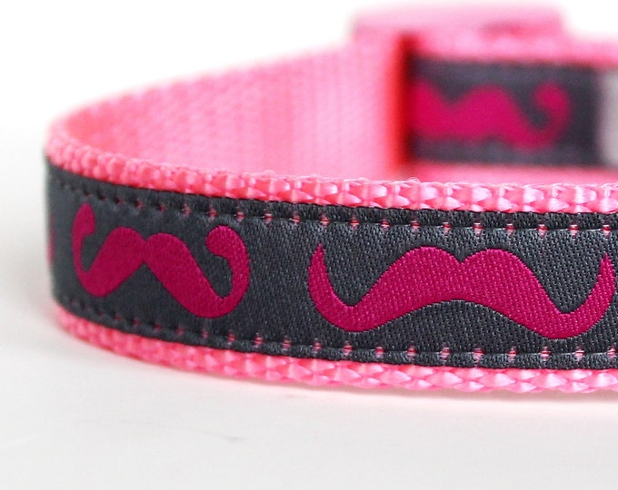 Pink Mustache Dog Collar, Adjustable Ribbon Pet Collar, Hipster Dog Collar