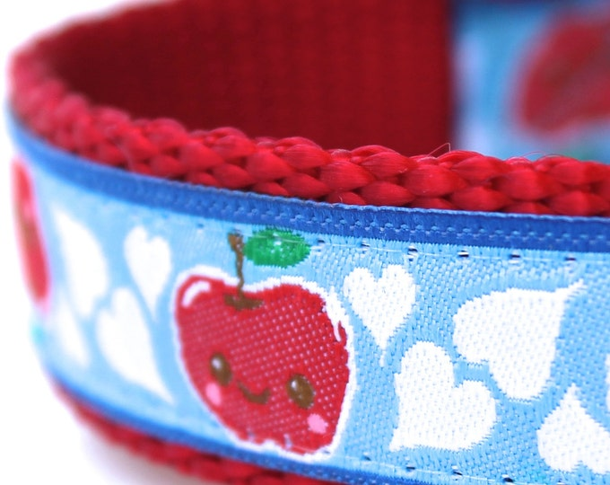 Happy Apple  Dog Collar, Adjustable Pet Collar, Blue Heart Pet Collar