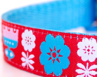 Danish Gardens Dog Collar, Adjustable Ribbon Pet Collar, Scandinavian, Red Flower Dog Collar
