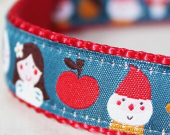 Snow White in the Forest Dog Collar, Ribbon Dog Collar, Adjustable, Fairy Tale