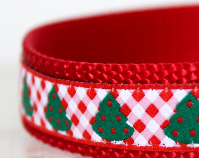 Christmas Trees Dog Collar,  Red Gingham, Adjustable Dog Collar, Holiday Dog Collar