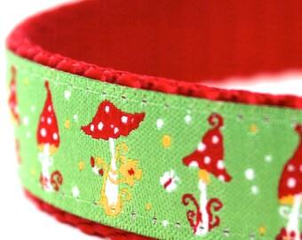 Dainty Mushrooms Dog Collar, Green Ribbon Pet Collar, Adjustable