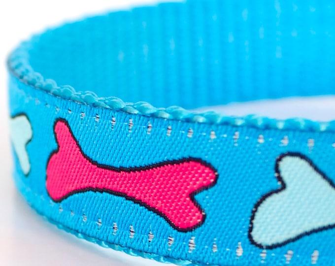 Pink Bones Dog Collar, Adjustable Pet Collar, Blue Dog Collar, Ribbon