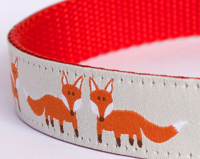 Happy Fox Dog Collar, Forest Friends Pet Collar, European Ribbon Dog Collar