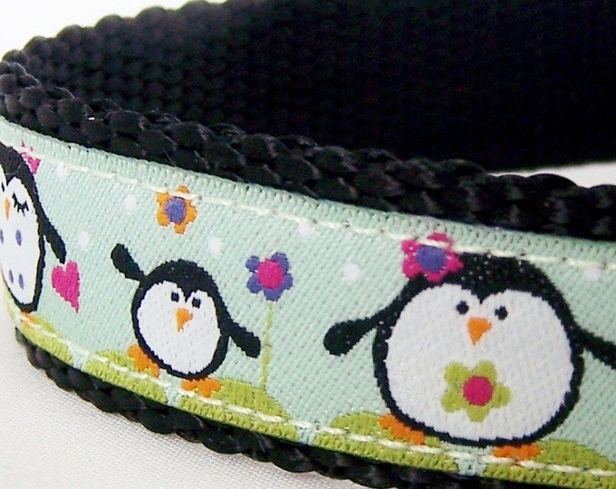 Happy Penguin Family Dog Collar, Mint Green, Adjustable / Ribbon Dog Collar XS ONLY