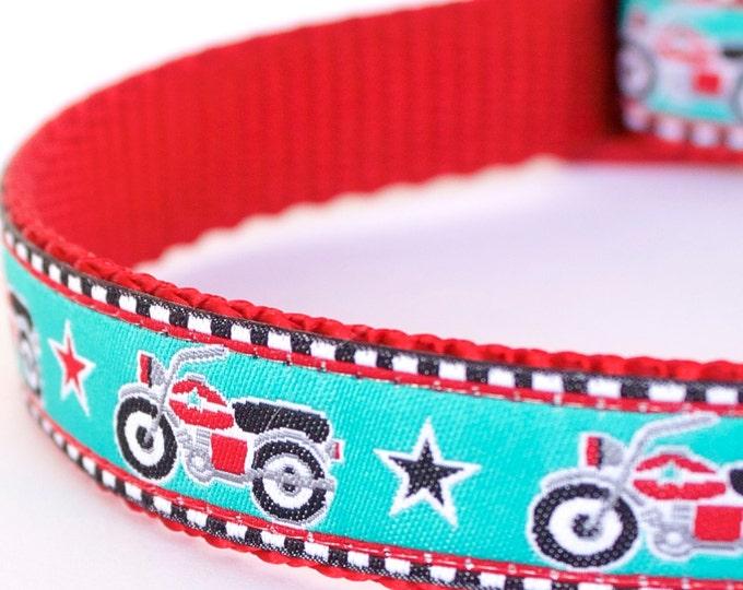 Red Motorcycles Dog Collar, Ribbon Adjustable Pet Collar, Street Bike, Dirt Bike