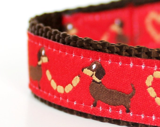QUICK SHIP Dachshund Lovers Dog Collar,  Red Wiener Dog, Pet Accessories, Adjustable / Doxie