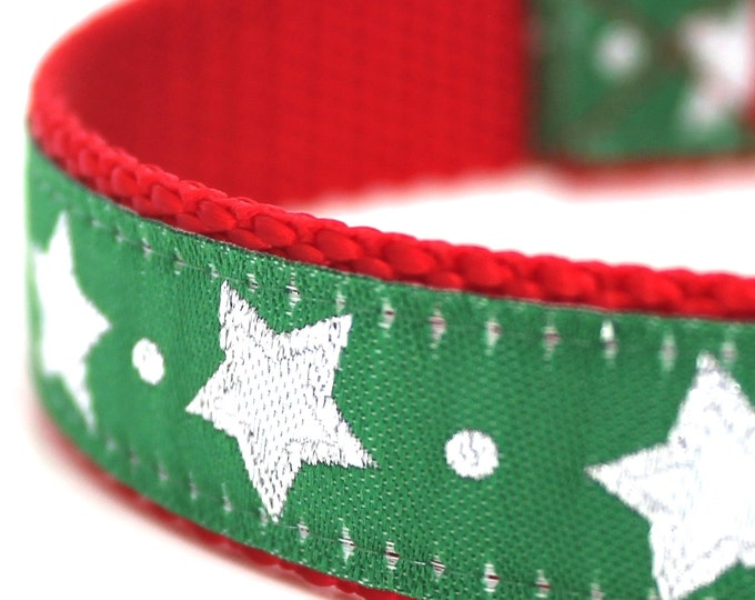 QUICK SHIP Green Glitter Stars Dog Collar, Christmas Pet Collar, Festive Dog Collar, Holiday