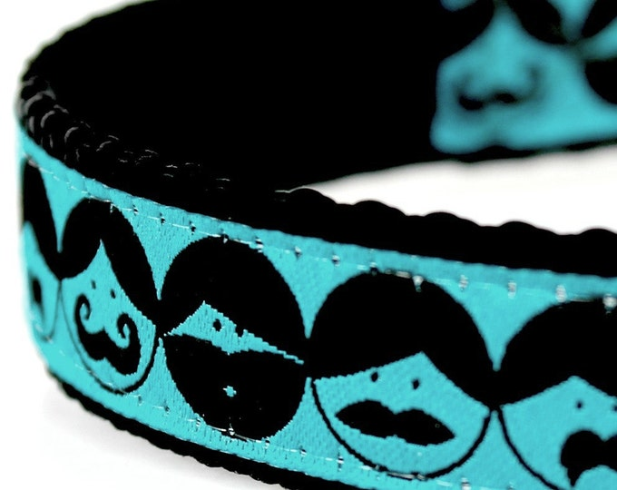 Beards and Mustache Dog Collar, Hipster Pet Collar, Teal Blue