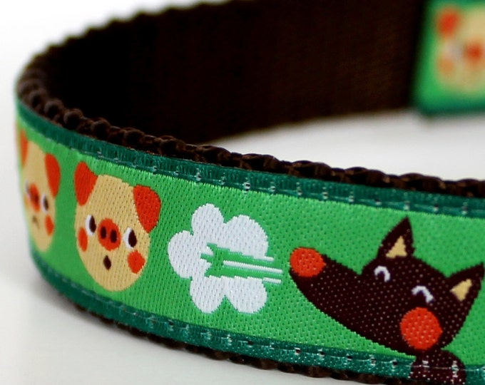 The Three Little Pigs Dog Collar, Adjustable, Fairytale Dog Collar, Wolf Dog Collar