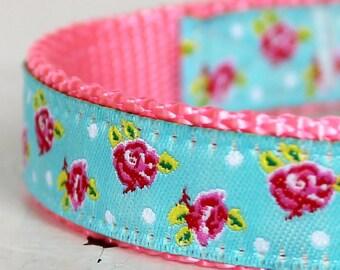 Shabby Chic Dog Collar, Aqua Blue, Adjustable Pet Collar, Cottage Chic, Pink Dog Collar