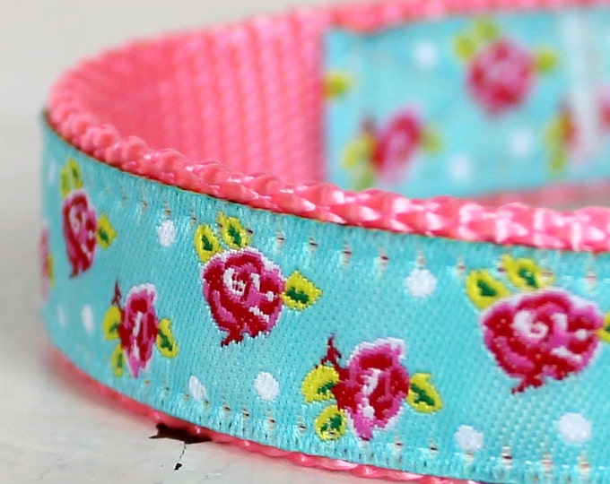 Shabby Chic Dog Collar, Aqua Blue, Adjustable Pet Collar, Cottage Chic, Pink Dog Collar