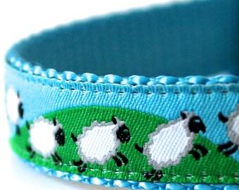 Counting Sheep Dog Collar, Ribbon Pet Collar, Jumping Lambs, Animal Print