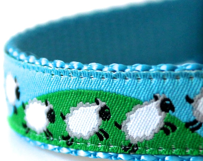 Counting Sheep Dog Collar, Ribbon Pet Collar, Jumping Lambs, Animal Print