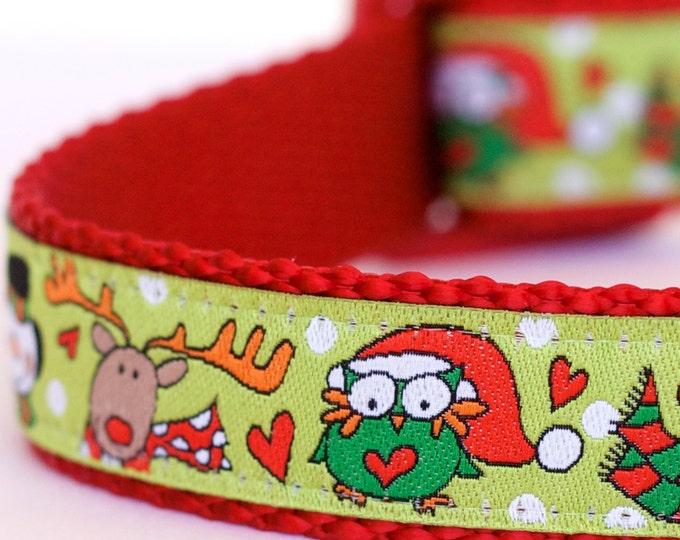 Christmas Owls Dog Collar, Holiday Snowman on Lime Green, Reindeer