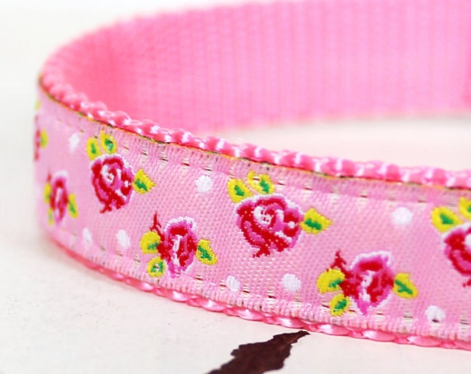 Shabby Chic Dog Collar in Pink Roses, Adjustable Pet Collar, Ribbon Dog Collar, Pretty Pink Rosebuds