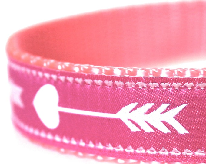 Pink Arrow Dog Collar, Boho Chic,  Adjustable Pet Collar, Tribal