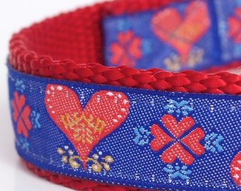 Red Hearts on Blue Dog Collar, Red Pet Collar, Valentine, Adjustable Dog Collar