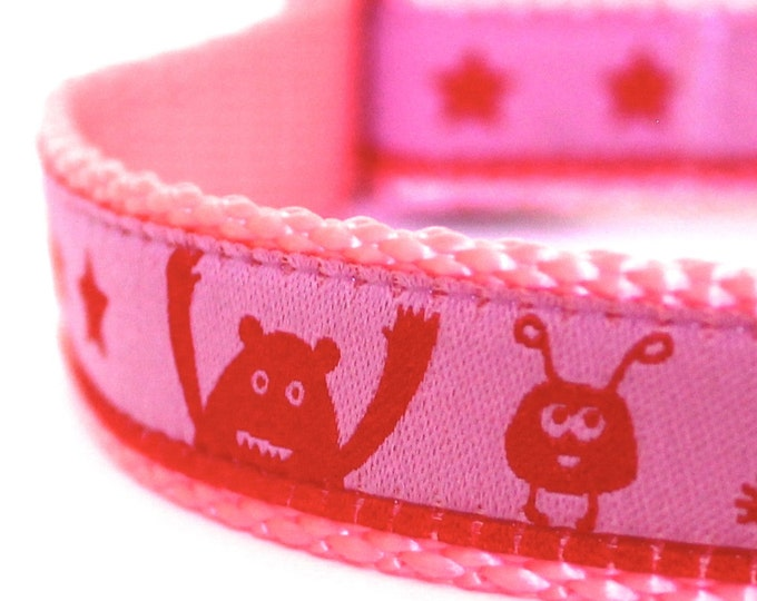 Monsters and Stars Dog Collar, Pink Adjustable Ribbon Pet Collar, Girl Dog Collar, Aliens