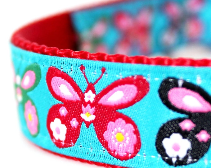 Butterfly Dog Collar / Adjustable Dog Collar/ European Ribbon Collar / Spring collar