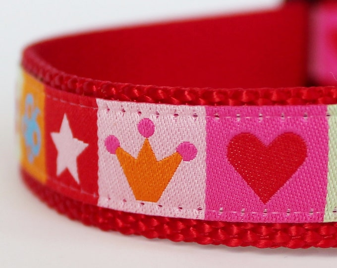 Crowns and Hearts Dog Collar Adjustable Dog Collar Valentine Dog Collar Princess Dog Collar