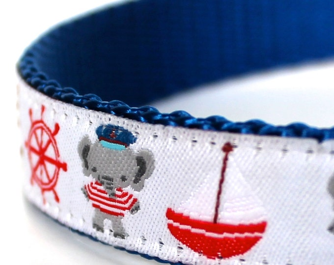 Sailor Elephants Dog Collar / Adjustable / Ribbon Dog Collar / Nautical