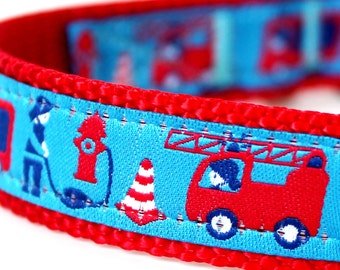 Fireman First Responder Hero Dog Collar, Red and Blue Firefighter Dog Collar