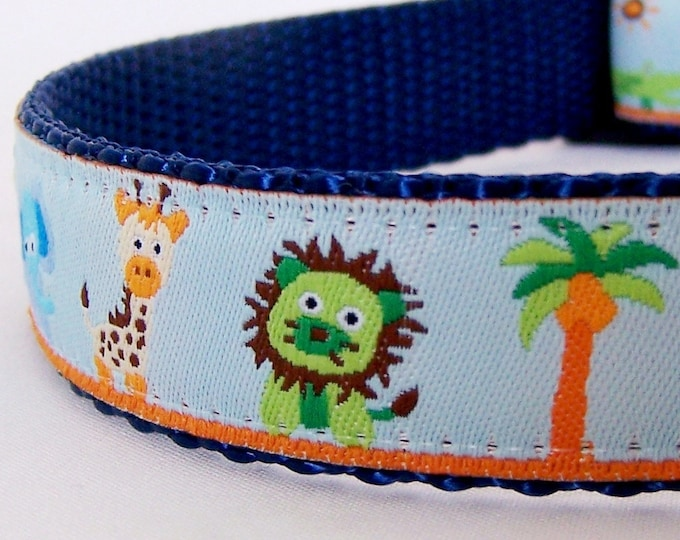 In the Jungle Dog Collar,  Adjustable Dog Collar, Jungle Animal Dog Collar, Elephant Dog Collar