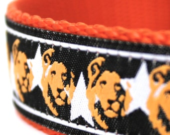 Lion Faces Collar, Orange, 1 inch width, Big Dog Collar, Black Pet Collar, Stars