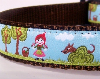 Red Riding Hood Dog Collar, Ribbon Adjustable Pet Collar, Fairy Tale Dog Collar, Wolf