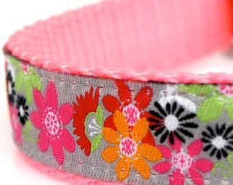 Crazy Daisy Dog Collar, Bohemian Boho Chic Ribbon Adjustable Pet Collar, Girl Dog