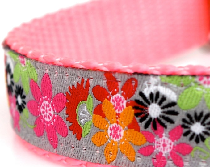 Crazy Daisy Dog Collar, Bohemian Boho Chic Ribbon Adjustable Pet Collar, Girl Dog