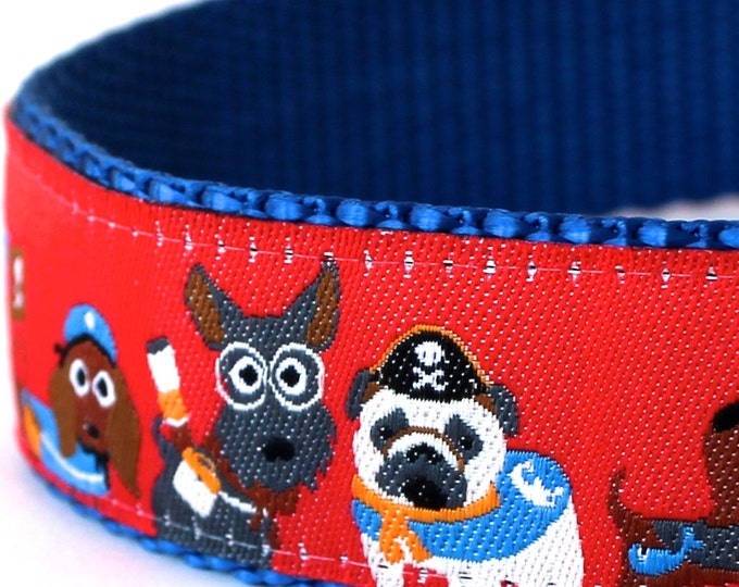 Pirate Dog Collar, 1 inch width, Big Dog Collar, Ribbon Adjustable Pet Collar